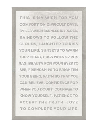 PETAL LANE HOME FRAMED QUOTE  THIS IS MY WISH