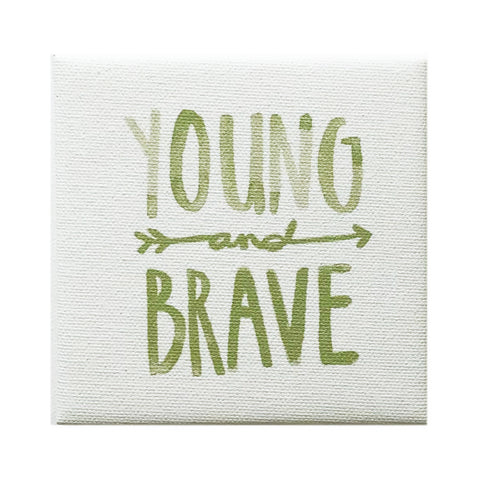 Canvas Magnet Kids Watercolor Young and Brave