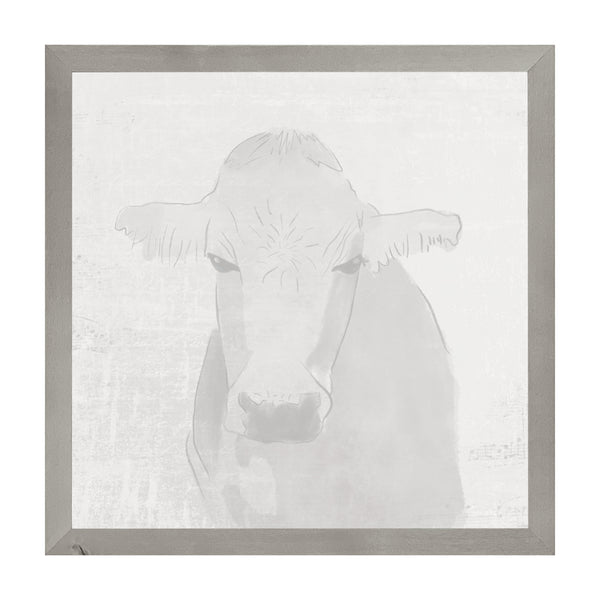 Farmhouse Gray Watercolor Cow