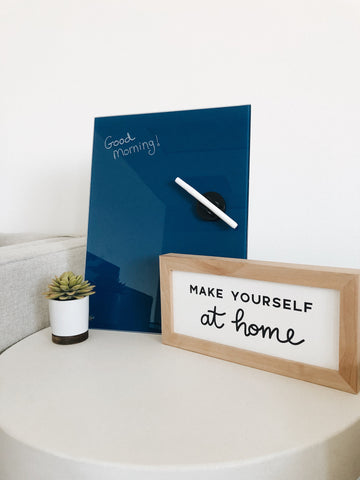 Glass Magnetic Blank Classic Blue Dry Erase Board
