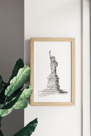 Fourth of July Watercolor Statue of Liberty