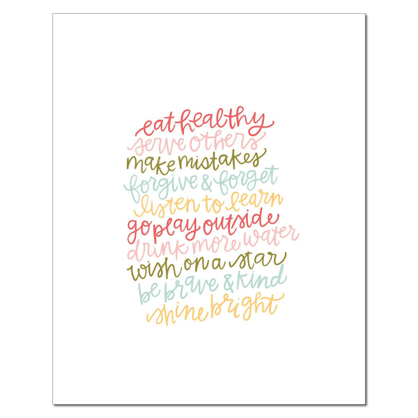 paperlove Alexa Eat Healthy Words to Live By Paper Print