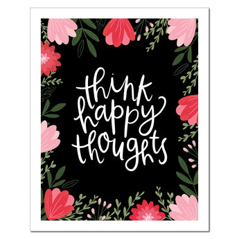 Petal Lane paperlove paper print Alexa Think Happy Thoughts with wood stand.