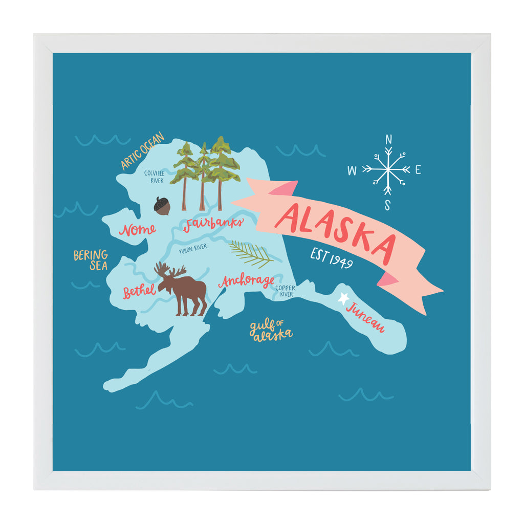 NEW Alexa Destinations Alaska State Map Magnet Board