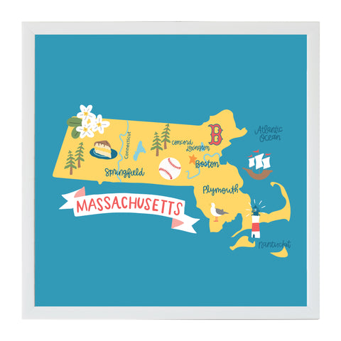 Alexa Destinations Massachusetts State Map Magnet Board