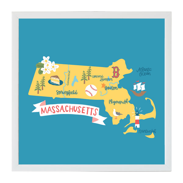 NEW Alexa Destinations Massachusetts State Map Magnet Board