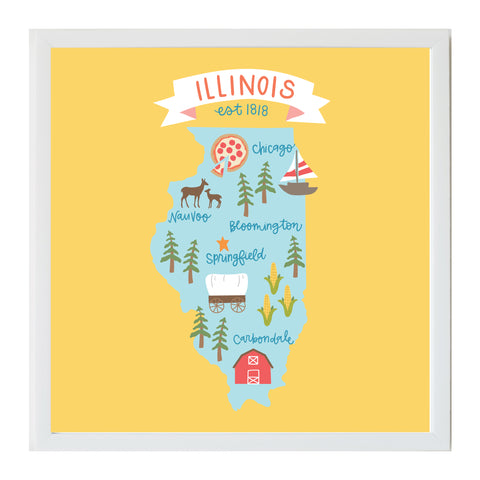 NEW Alexa Destinations Illinois State Map Magnet Board