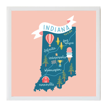 Petal Lane Home Indiana State Iconic Magnetic Board