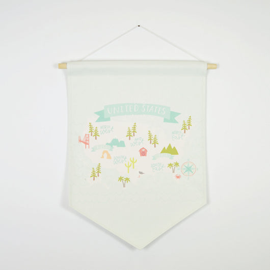 Petal Lane Home bannerlove Alexa United States Banner with String and Wooden Dowel