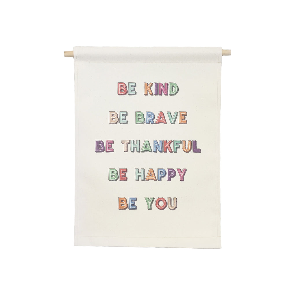 Petal Lane Home Be Kind Be Brave Colorful Hanging Canvas Banner with Wooden Dowel and String
