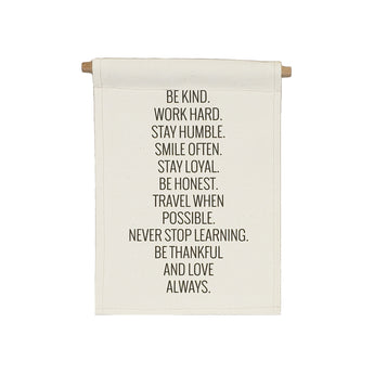 Petal Lane Home bannerlove Be Kind Word Hard Hanging Canvas Banner with Wooden Dowel and String
