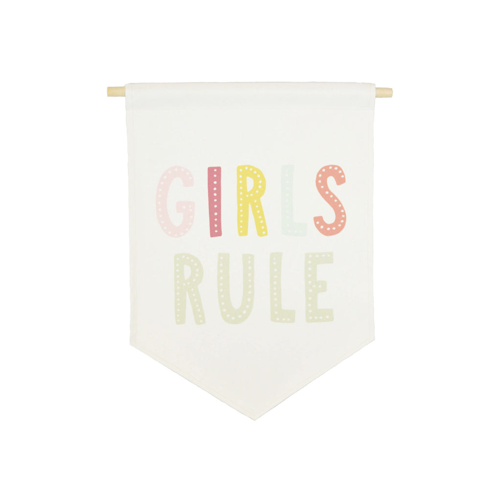 Petal Lane Home bannerlove Girls Rule Quality Canvas with Dowel and String