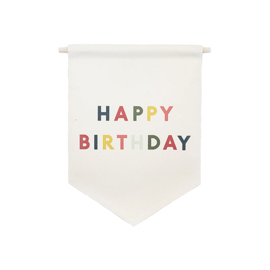 Petal Lane Home bannerlove Happy Birthday Hanging Canvas Banner with Wooden Dowel and String