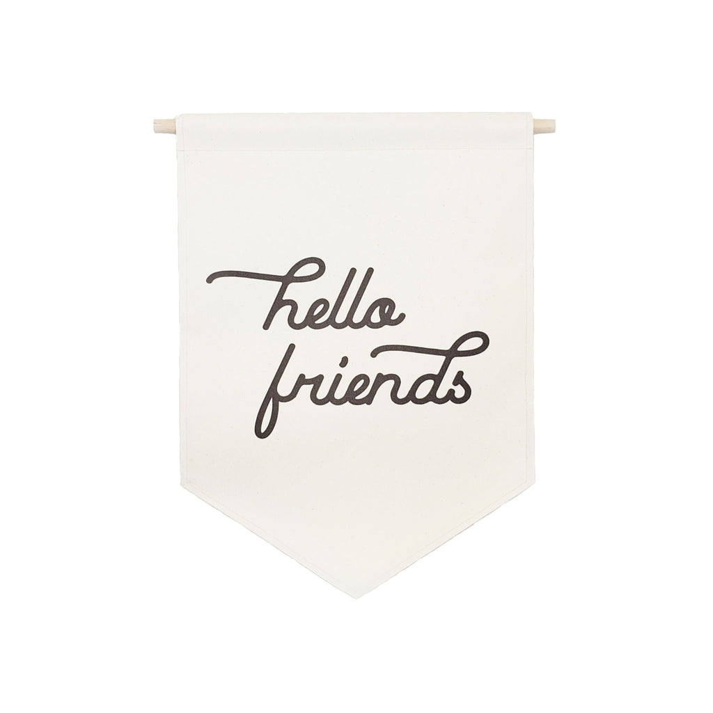 Petal Lane Home bannerlove Hello Friends Hanging Canvas Banner with Dowel and String