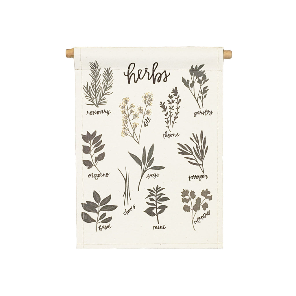 Petal Lane Home bannerlove Alexa Herbs Canvas Hanging Banner with Dowel and String