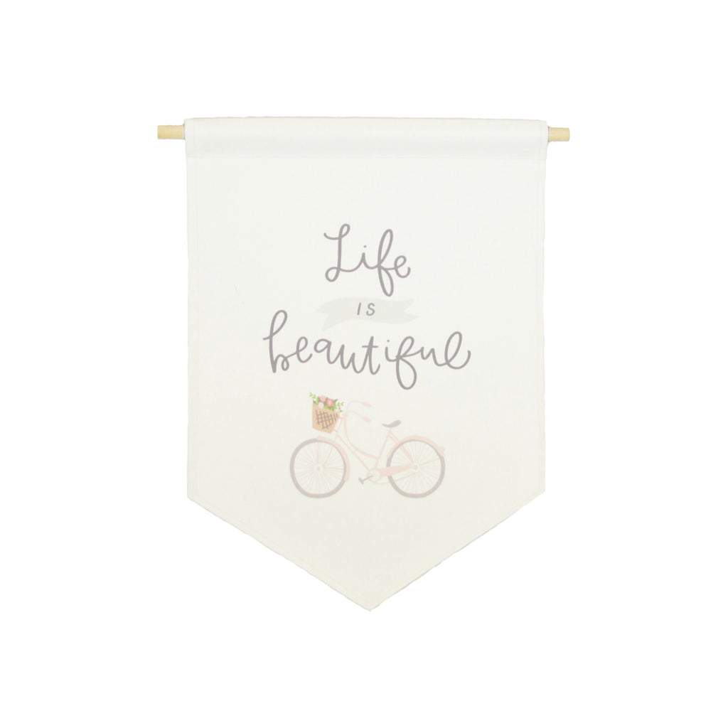Petal Lane Home bannerlove Life is Beautiful Quality Canvas Banner with String and Wooden Dowel