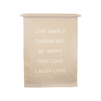 Petal Lane Home bannerlove Life Simply Dream Big Hanging Canvas Banner with Wooden Dowel and String