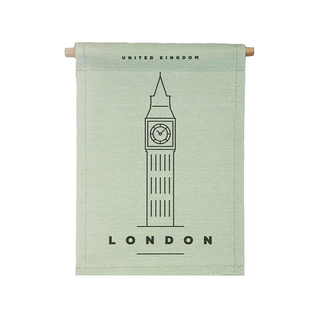 Petal Lane Home bannerlove Modern London Hanging Banner with Wooden Dowel and String