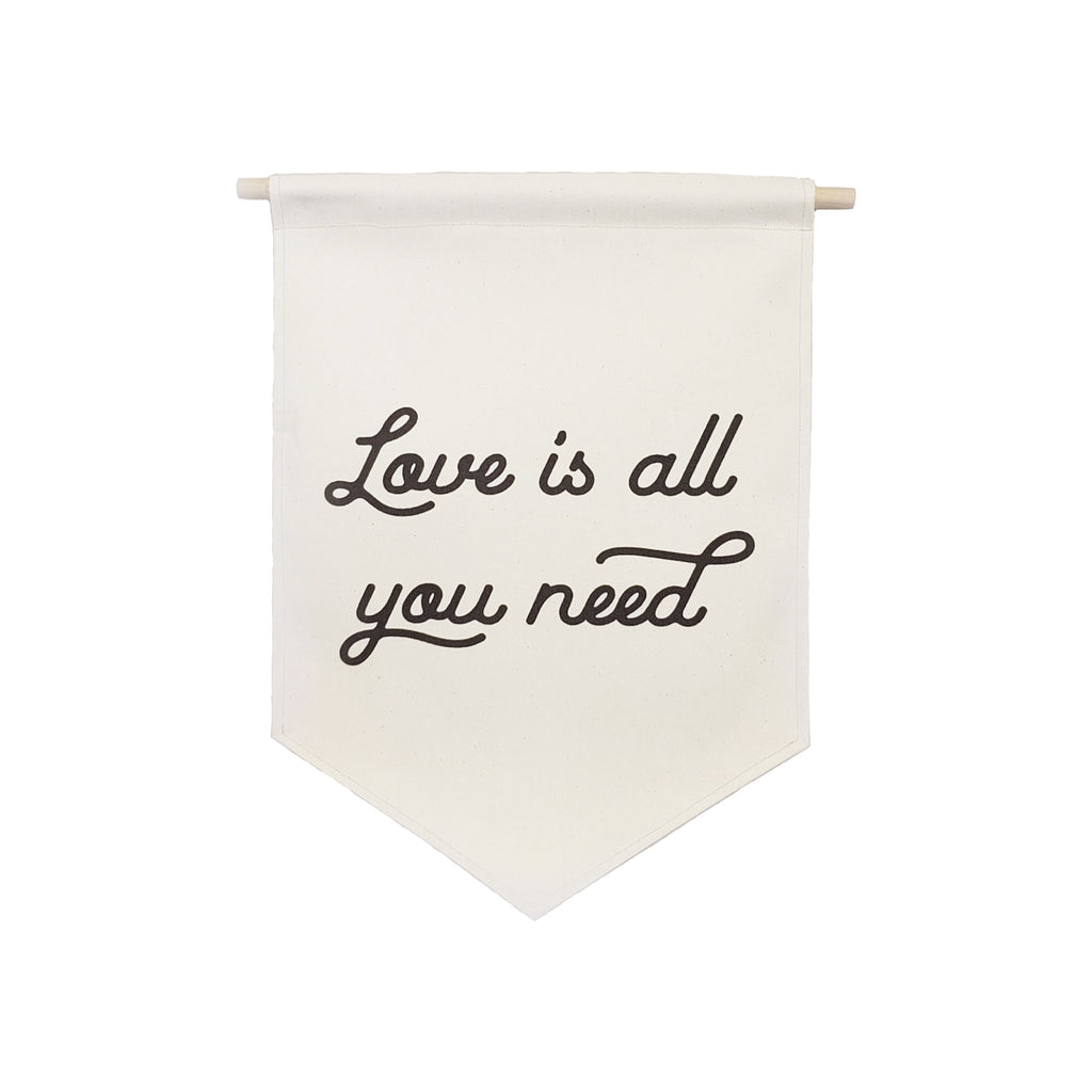 Petal Lane Home bannerlove Love is All You Need Hanging Canvas Banner with Wooden Dowel and String