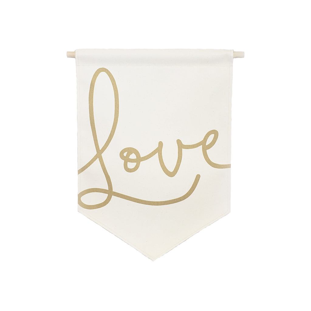 Petal Lane Home bannerlove Love Script Hanging Canvas Banner with Wooden Dowel and String