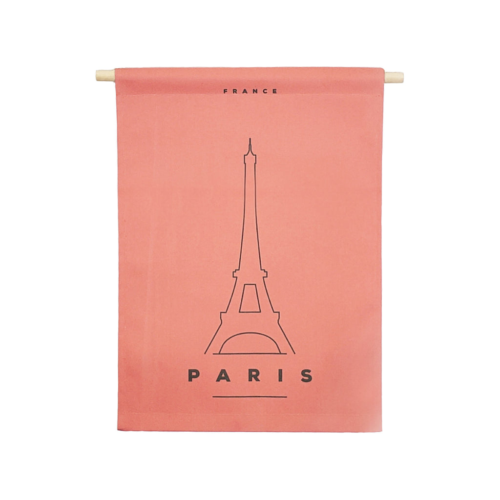 Petal Lane Home bannerlove Modern Paris Hanging Canvas Banner with Wooden Dowel and String