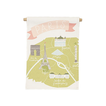 Petal Lane Home bannerlove Alexa Paris Map Hanging Canvas Banner with Wooden Dowel and String
