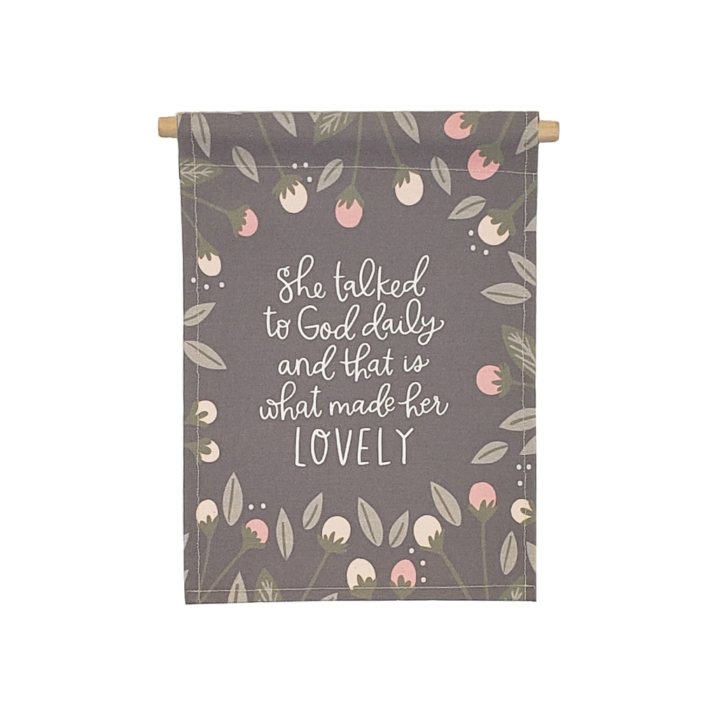 Petal Lane Home bannerlove She Talked to God Hanging Canvas Banner with Strong and Dowel