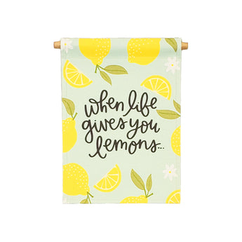 Petal Lane Home bannerlove Alexa Life Lemons Hanging Canvas Banner with Wooden Dowel and String