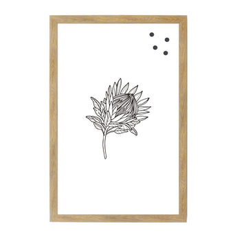 Petal Lane Home Botanical Line Drawn Black and White Australia Flower Magnetic Board