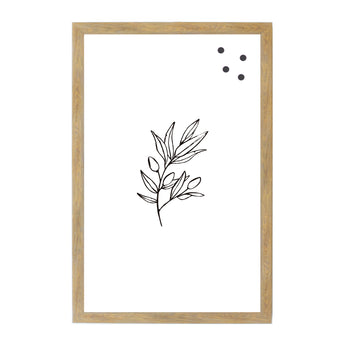 Petal Lane Home Botanical Line Drawn Black and White Leaves Magnetic Board