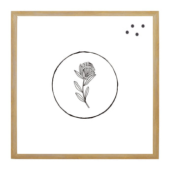 Petal Lane Home Circle Flower Line Drawn Artwork on Magnetic Board