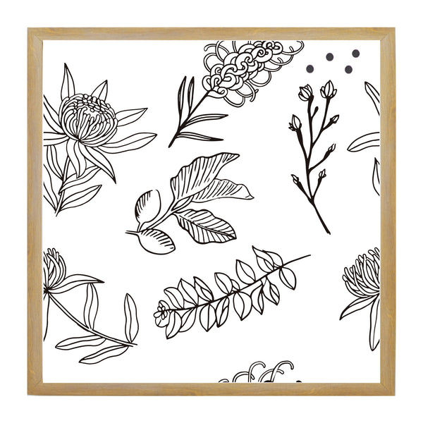 Flower Pattern Botanical Line Drawing