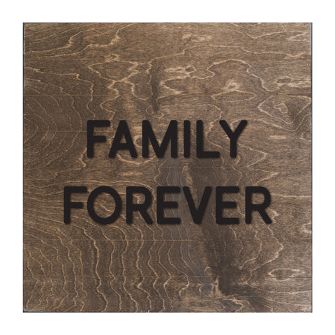 Real Wood Slat Family Forever with Raised Lettering