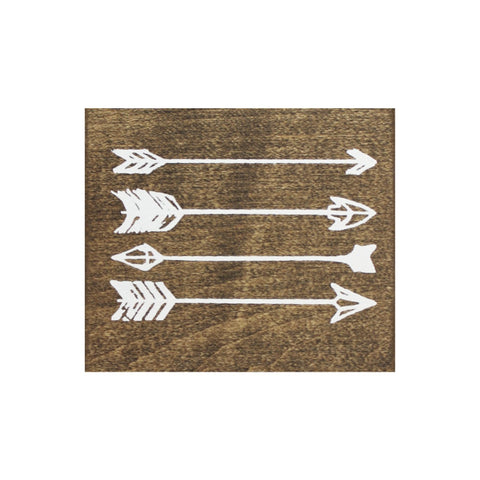 Screen Printed Arrows Brown Real Wood Tile Magnet