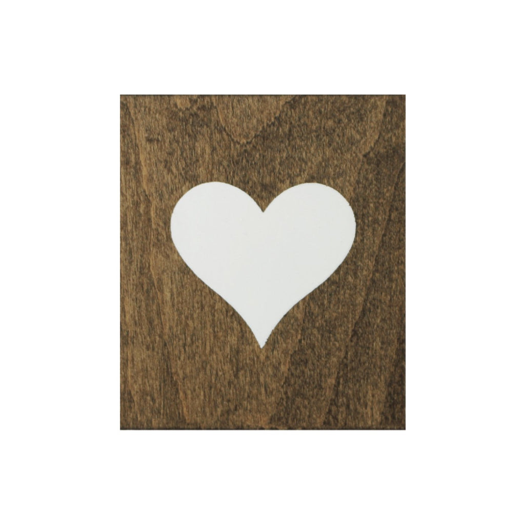 Screen Printed Heart Brown Real Wood Tile Magnet