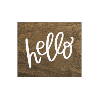 New Screen Printed Hello Brown Real Wood Tile Magnet