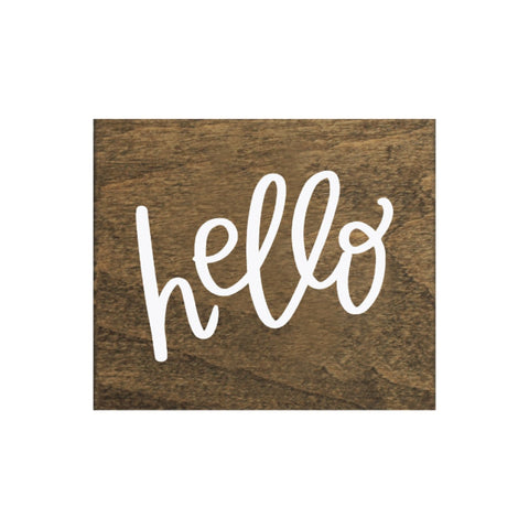 Screen Printed Hello Brown Real Wood Tile Magnet