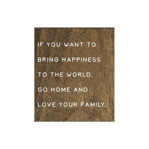 Screen Printed If You Want to Bring Happiness Brown Real Wood Tile Magnet
