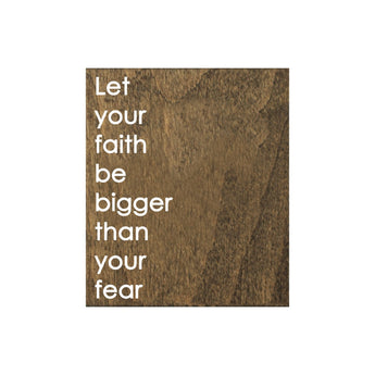 Petal Lane Home Screen Printed Faith Fear Brown Real Wood Tile Magnet Perfect for Fridge or Magnet Board