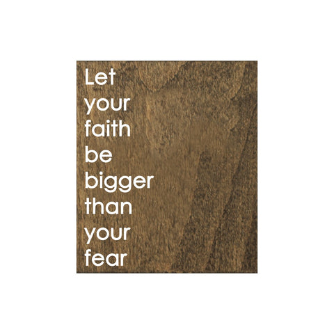 Screen Printed Faith Fear Brown Real Wood Tile Magnet