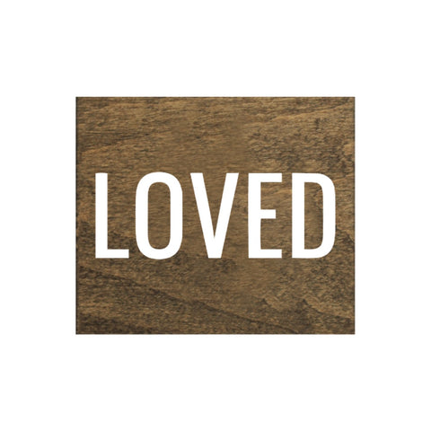 Screen Printed Loved Brown Real Wood Tile Magnet