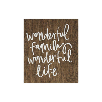 Petal Lane Home Screen Printed Wonderful Family Wonderful Life Brown Real Wood Tile Magnet Perfect for Fridge or Magnet Board