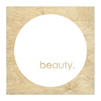 Petal Lane Home Realy Wood Beauty Inverted Cut-Out Slat Board with Driftwood and White
