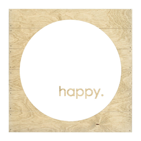 Real Wood Happy Silhouette Cut-Out Slat Board