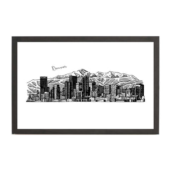 Denver Cityscape Line Drawing