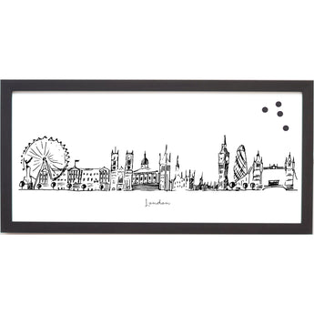 Petal Lane Home Ebony Framed London Line Drawn Cityscape Magnet Board