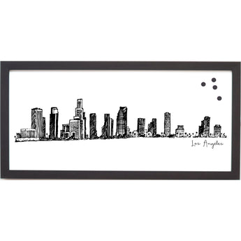 Petal Lane Home Ebony Framed Cityscape Line Drawing on Magnet Board