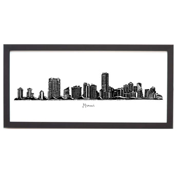 Miami Cityscape Line Drawing