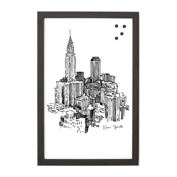 Petal Lane Home New York Cityscape Line Drawn Artwork/Magnet Board