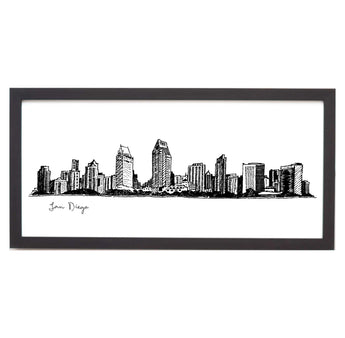 San Diego Cityscape Line Drawing